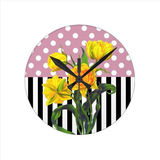 yellow tulip polka dot pattern round clock