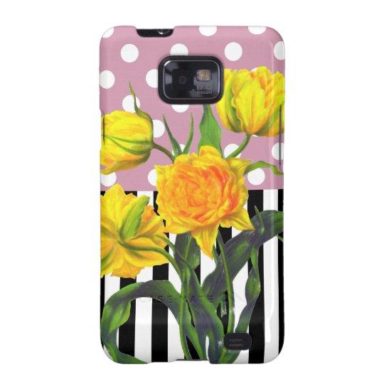 yellow tulip polka dot pattern samsung galaxy SII cases