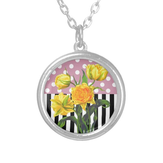 yellow tulip polka dot pattern silver plated necklace
