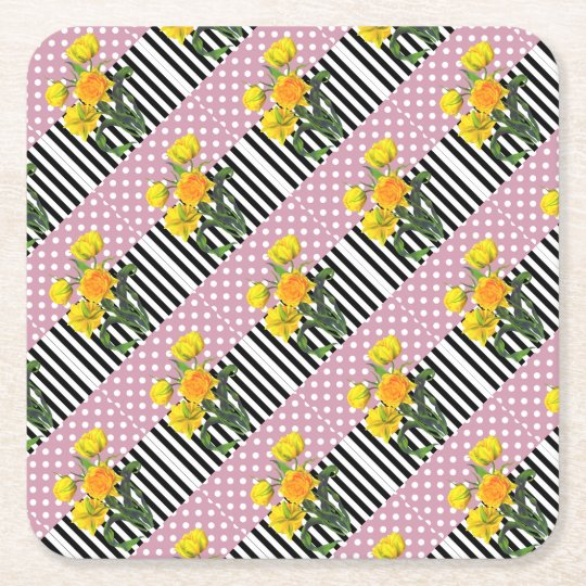yellow tulip polka dot pattern square paper coaster