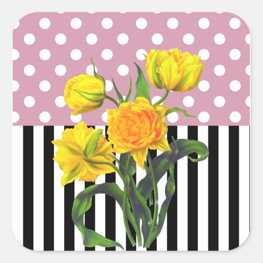 yellow tulip polka dot pattern square sticker