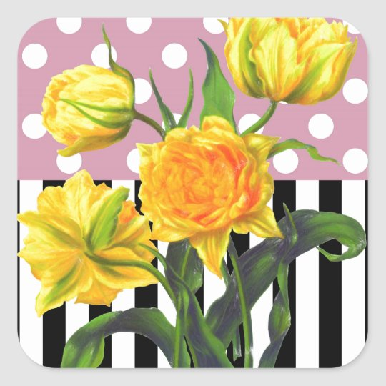 yellow tulip polka dot pattern square sticker