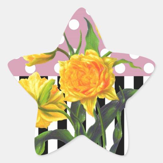 yellow tulip polka dot pattern star sticker