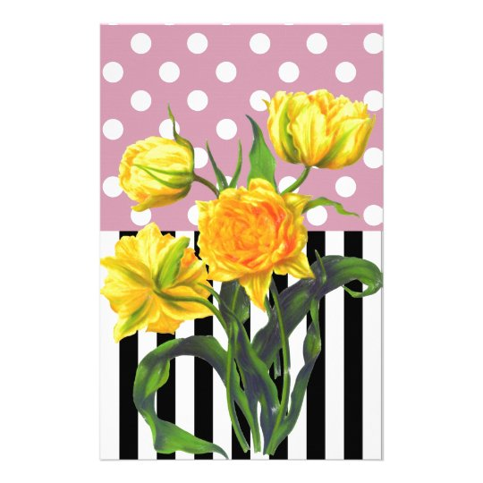 yellow tulip polka dot pattern stationery