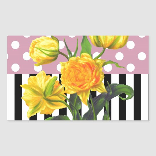 yellow tulip polka dot pattern sticker