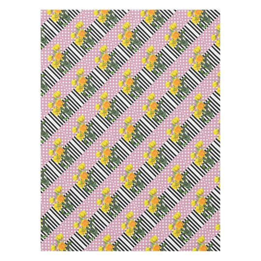 yellow tulip polka dot pattern tablecloth