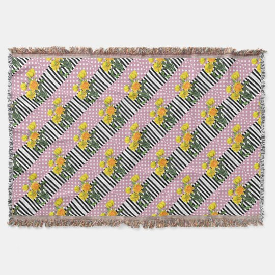 yellow tulip polka dot pattern throw blanket