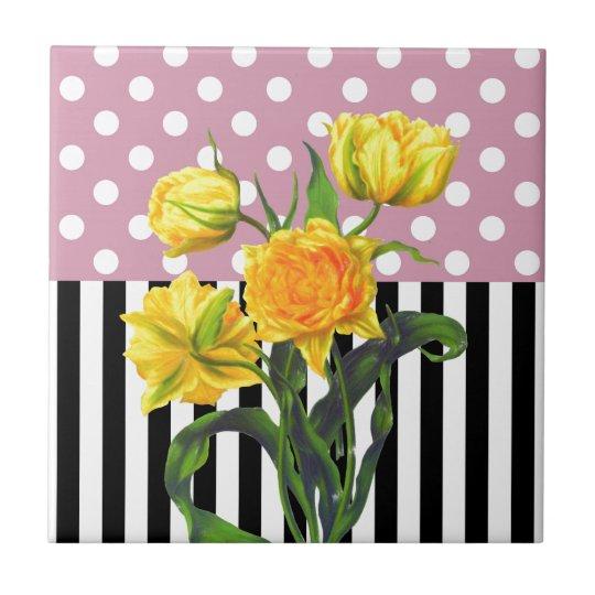 yellow tulip polka dot pattern tile