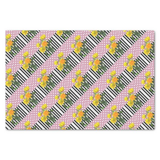 yellow tulip polka dot pattern tissue paper