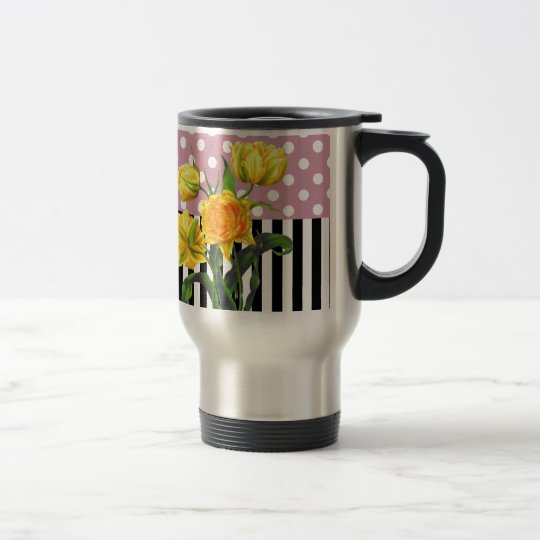 yellow tulip polka dot pattern travel mug