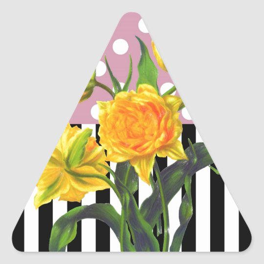 yellow tulip polka dot pattern triangle sticker