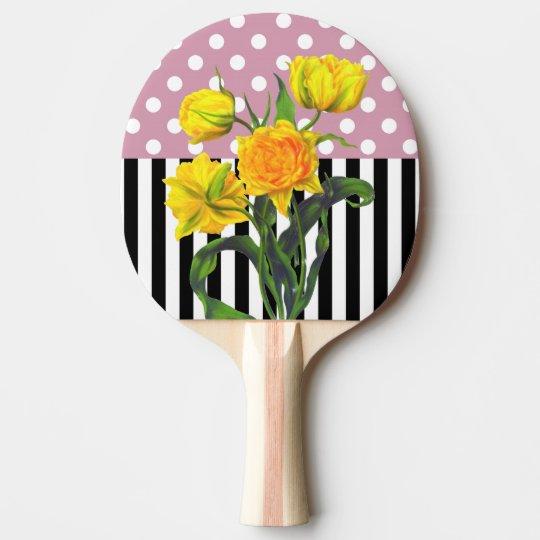 yellow tulip polka dot ping pong paddle