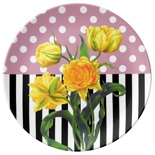 yellow tulip polka dot plate
