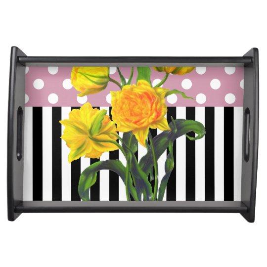 yellow tulip polka dot serving tray