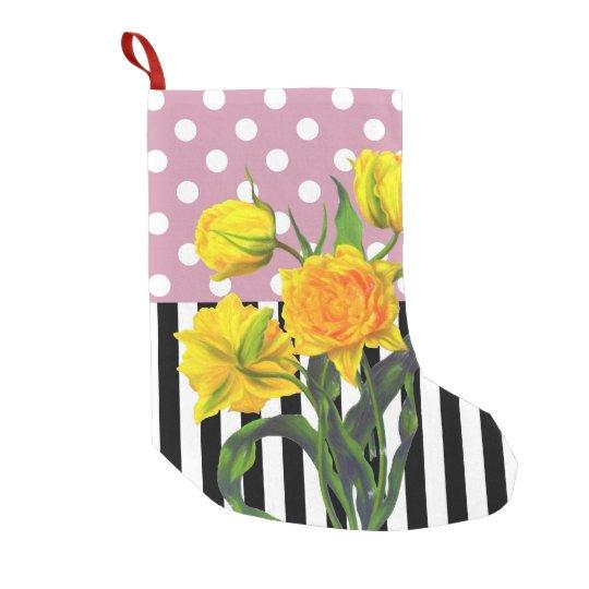 yellow tulip polka dot small christmas stocking