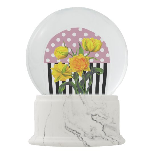 yellow tulip polka dot snow globe