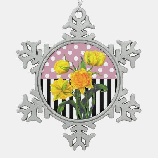 yellow tulip polka dot snowflake pewter christmas ornament
