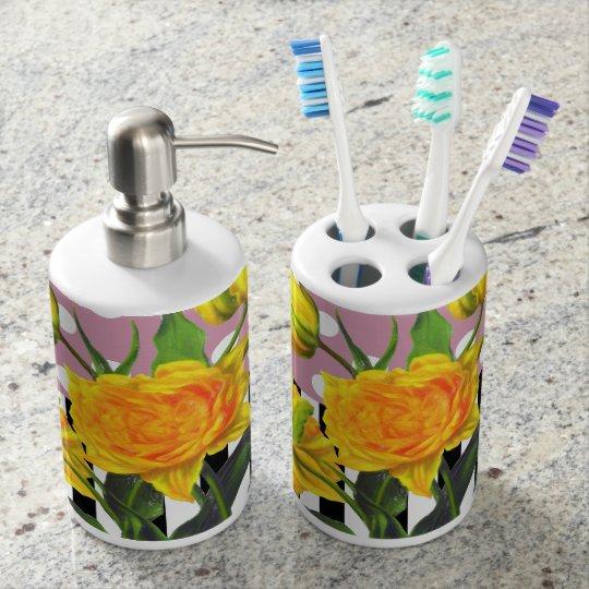 yellow tulip polka dot soap dispenser and toothbrush holder