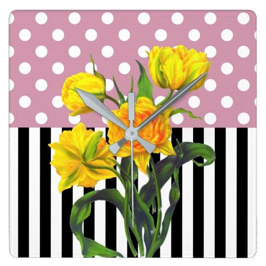 yellow tulip polka dot square wall clock