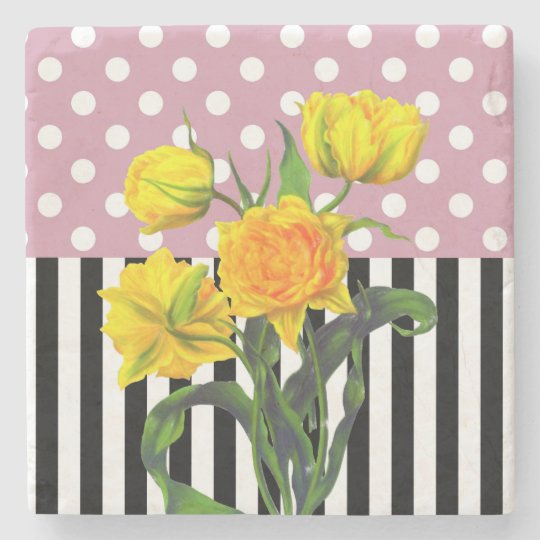 yellow tulip polka dot stone coaster