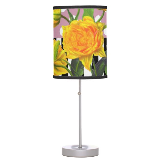 yellow tulip polka dot table lamp