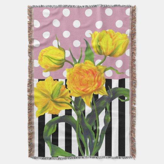 yellow tulip polka dot throw blanket
