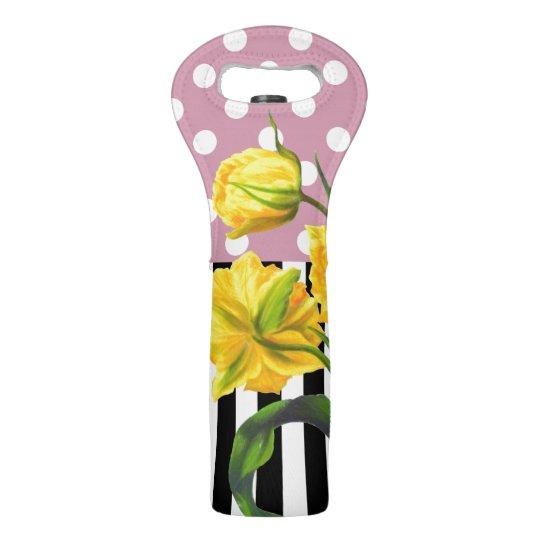 yellow tulip polka dot wine bag