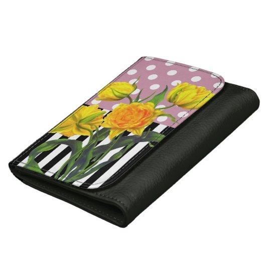 yellow tulip polka dot women's wallets