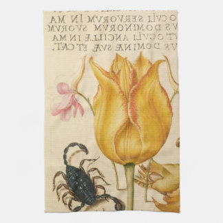 yellow tulip scorpio kitchen towel