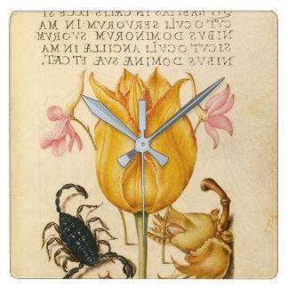 yellow tulip scorpio square wall clock