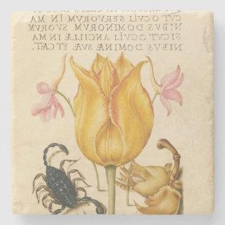 yellow tulip scorpio stone coaster