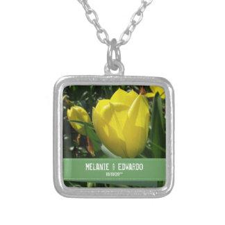 Yellow Tulip Wedding Necklace for Bride