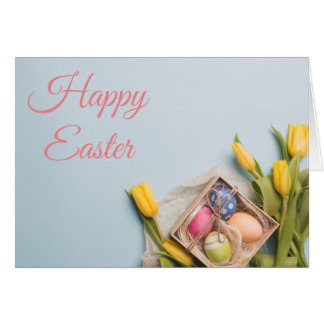 Yellow Tulips and Easter Eggs Card