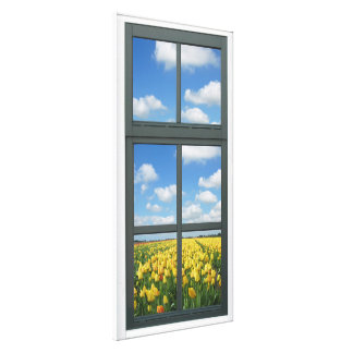 Yellow Tulips Faux Window View Canvas Print