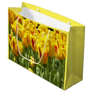 Yellow Tulips Floral Large Gift Bag