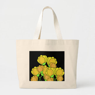 Yellow tulips large tote bag