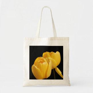 Yellow Tulips On Black Bakground