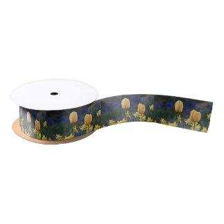 Yellow tulips satin ribbon