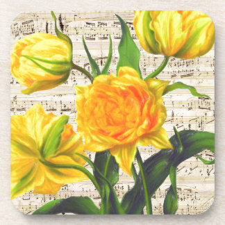 Yellow tulips song drink coaster