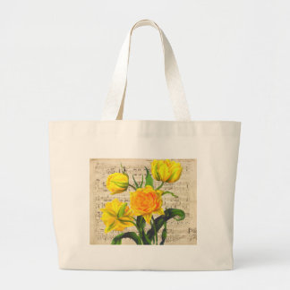 Yellow tulips song large tote bag