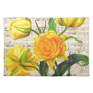 Yellow tulips song placemat