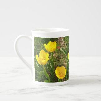 yellow tulips tea cup