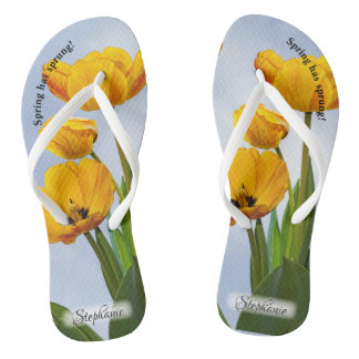 Yellow Tulips with Blue Sky Floral Photography Flip Flops
