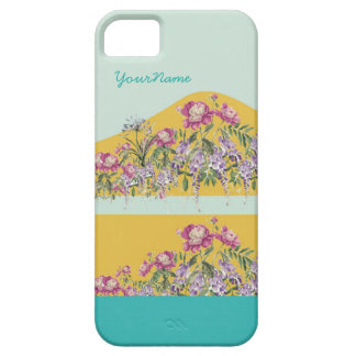 Yellow Turquoise Floral Customized Iphone 5 Case