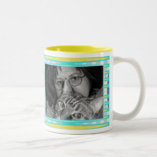 yellow turquoise  frame Two-Tone coffee mug