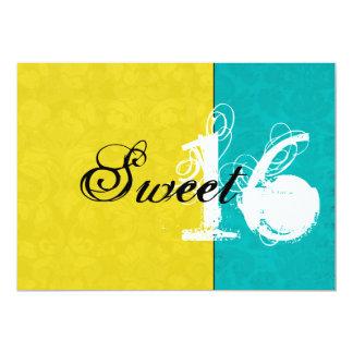 Yellow & Turquoise Sweet Sixteen Invitations