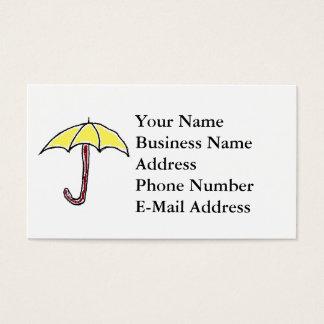 Yellow Umbrella Cartoon Business Card