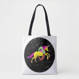 Yellow Unicorn Jumping Through a Doughnut Tote Bag