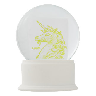 Yellow Unicorn Magical Horse Add Name Snow Globe