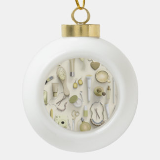 Yellow Vanity Table Ceramic Ball Ornament